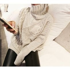 NANING9 - Turtle-Neck Cable-Knit Sweater