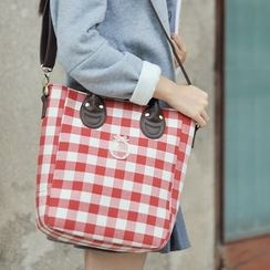 SUPER LOVER - Plaid Tote with Shoulder Strap