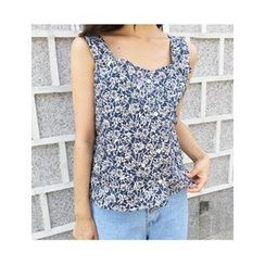 FROMBEGINNING - Sleeveless Floral Pattern Buttoned Top