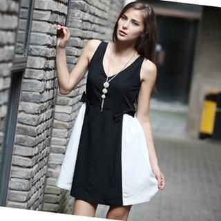 YiGelila - Sleeveless V-Neck Color-Block A-Line Dress
