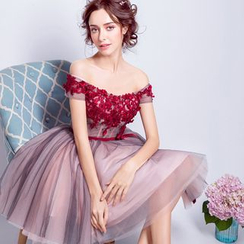 Angel Bridal - Off-Shoulder Floral Applique Prom Dress
