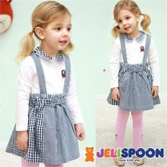 JELISPOON - Girls Set: Gingham Suspender Dress + Collared Top