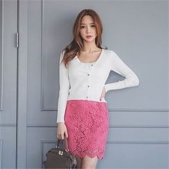 ERANZI - Lace-Overlay Pencil Skirt