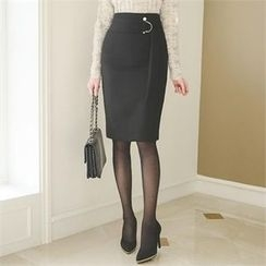 ode' - Faux-Pearl Trim Buckled Pencil Skirt