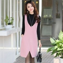 AiSun - Plain V-Neck Pinafore Dress