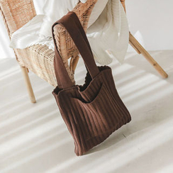 JUSTONE - Pocket Rib-Knit Shopper Bag