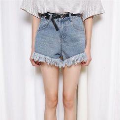 Porta - Fray Hem Denim Shorts