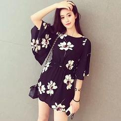 lilygirl - Floral Print Bell-Sleeve Mini Dress