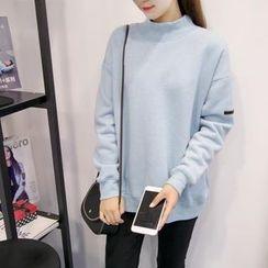 Century Girl - Plain Mock-Neck Fleece-Lined Sweatshirt