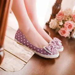 幸福鞋坊 - 蝴蝶結碎花印花平跟鞋