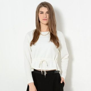 59 Seconds - Long-Sleeve Drawstring-Waist Cropped Top