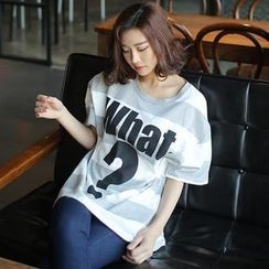 Envy Look - Logo-Print Stripe T-Shirt