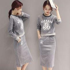 ESODO - Set : Pinstripe Print Sweatshirt + Skirt