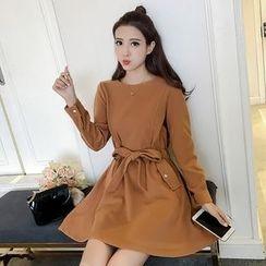 Bloombloom - Woolen Long Sleeve Mini Dress