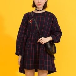 Heynew - Long-Sleeve Plaid A-Line Dress