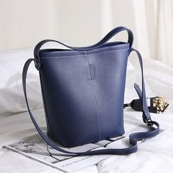 enoi - Set of 2: Faux Leather Bucket Bag + Zip Pouch
