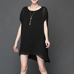 Mythmax - Short-Sleeve Plain Dress