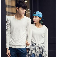 Evolu Fashion - Couple Matching Long-Sleeve Plain T-Shirt