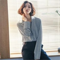 MAGJAY - Contrast-Trim Pinstriped Shirt