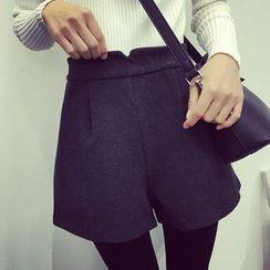 Bloombloom - Woolen Wide Leg Shorts
