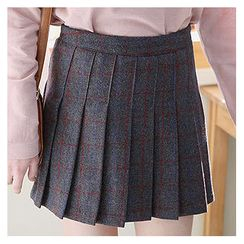 Sechuna - Inset Shorts Checked Pleat Skirt