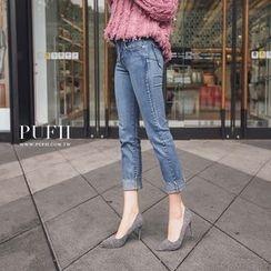 PUFII - 显瘦直筒反摺九分丹宁牛仔裤