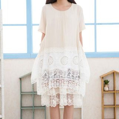 Blue Hat - Short-Sleeve Lace-Panel Dress