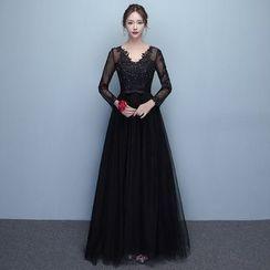 Loree - V-neck Long-Sleeve Evening Dress