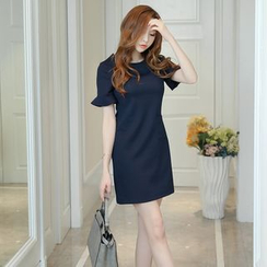 Bornite - Ruffled Short-Sleeve Sheath Dress