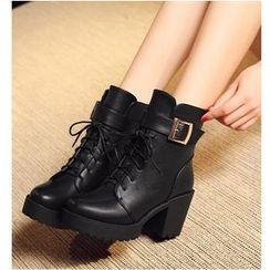 Freesia - 粗跟系带扣带靴