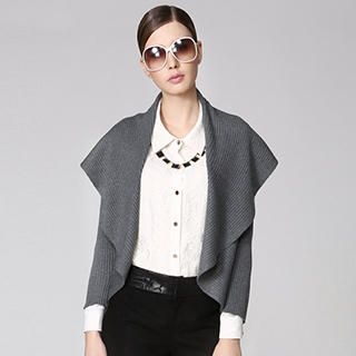 O.SA - Shawl Collar Open-Front Cardigan