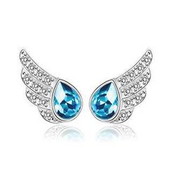 BELEC - 925 Sterling Silver Angel Wing Stud Earrings with Blue Swarovski Element Crystal