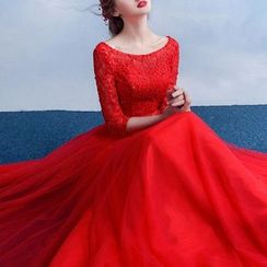 MSSBridal - 3/4-Sleeve Lace Embroidered Evening Gown