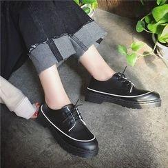 時尚麥樂 - 配色邊厚底繫帶牛津鞋