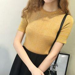 Honey House - Short-Sleeve Plain Knit Top
