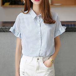 Rocho - 條紋荷葉邊短袖襯衫