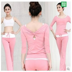 AUM - Yoga Set: Long-Sleeve Top + Camisole + Pants