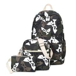 VIVA - Set of 3: Camouflage Print Backpack + Crossbody Bag + Pouch