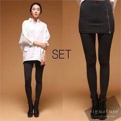 Signature plus - Set: Cotton Blend Shirt + Inset Skirt Band-Waist Leggings