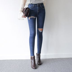 WITH IPUN - Distressed Washed Skinny Jeans