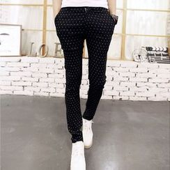 Hawoo - Dotted Slim-Fit Pants