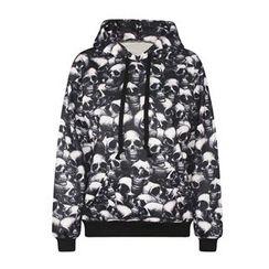 Omifa - Skull-Print Hooded Pullover