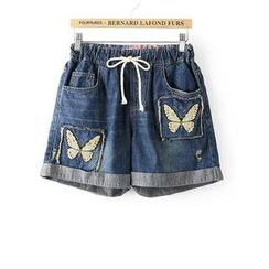 Tangi - Butterfly Embroidered Denim Shorts