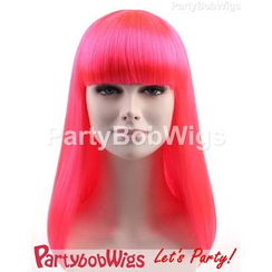 Party Wigs - PartyBobWigs - Party Long Bob Wig - Neon Pink