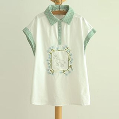 Angel Love - Embroidered Short-Sleeve Polo Shirt