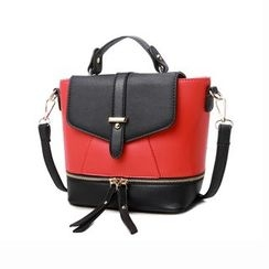 SUOAI - Colour Block Faux Leather Satchel