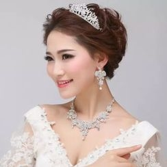Sky n Sea - Bridal Set: Rhinestone Necklace + Earrings + Tiara