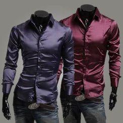 Fireon - 純色長袖襯衫