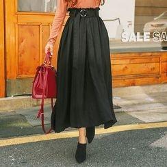 DABAGIRL - Belted Paperbag-Waist Long Skirt
