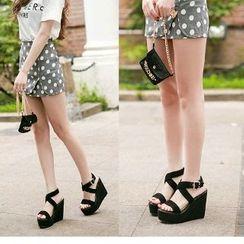 Mancienne - Cross-Strap Wedge Sandals